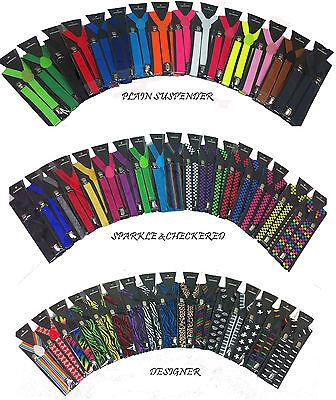 "Clip-on Wide 1.5"" Suspenders Elastic Y-Shape Adjustable Braces"
