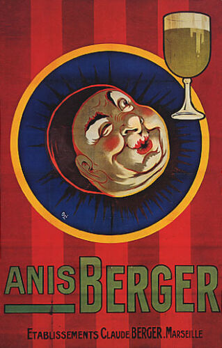 ANIS BERGER DRINK ANISE LIQUOR CLOWN FACE MARSEILLE FRANCE VINTAGE POSTER REPRO