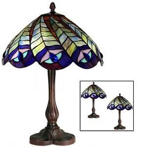 43cm Tiffany Style Peacock Table Lamp 30cm Glass Shade Free Bulb Buy