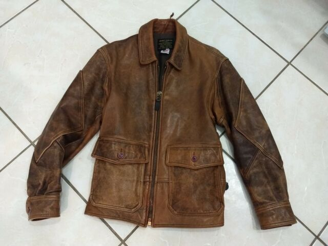 29bf0d103fc Vintage Avirex Leather Jacket Brown US Navy Type G-8 Flight Bomber Size 40