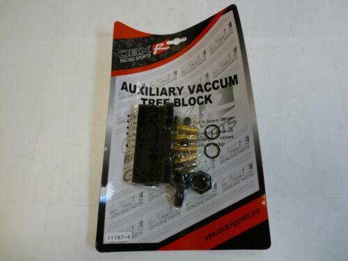 Black Billet Aluminum Universal 4-Port Vacuum Distribution Block By OBX Racing