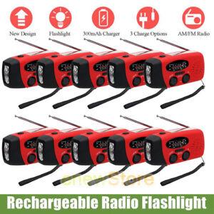 Lot Emergency Solar Hand Crank Dynamo AM/FM/NOAA Weather Radio Flashlight Charge