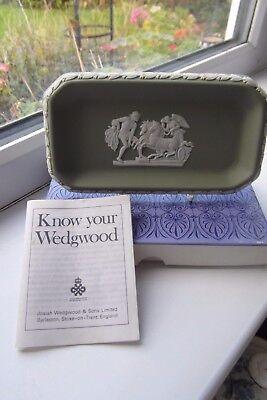 Wedgwood Trinket Tray Boxed Sage Green White Jasperware British