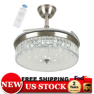 42-034-Crystal-Ceiling-Fan-Lights-LED-Dimmable-Chandelier-Retractable-Fan-w-Remote