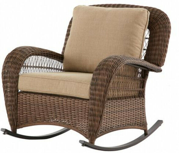 Terrific Wicker Chair Outdoor Rocking Seat Brown With Toffee Reversible Back Cushion Machost Co Dining Chair Design Ideas Machostcouk