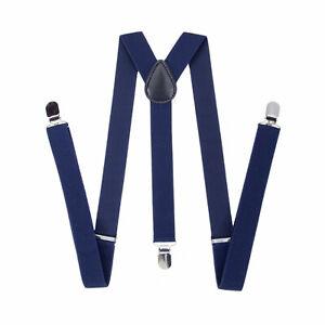 35mm-Para-Hombre-Ancho-Tirantes-en-Marina-Tirantes-Clip-en-Elastico-Pantalones-Jeans