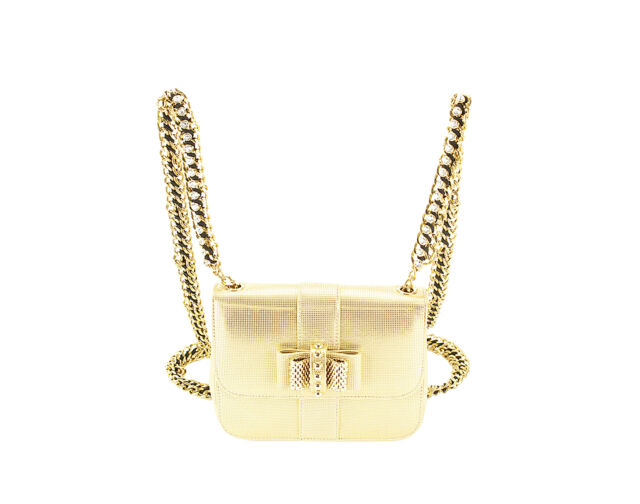 New Authentic Christian Louboutin Sweet Charity Mini Bag Gold Leather  Backpack 009b3d21bd28a