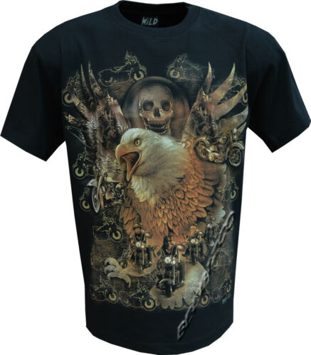 Skull Eagle Biker Native American Indian Motorbike Motorcycle T Shirt M XXL