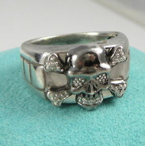 Estate Vintage Skull Crossbones Sterling Silver Diamond Detailed Size 10 Ring Ebay
