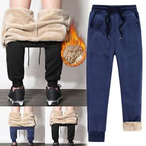 Hombres-Pantalones-Deportivos-Pantalones-Grueso-Forro-Polar-Suelto-Pantalones-para-el-invierno