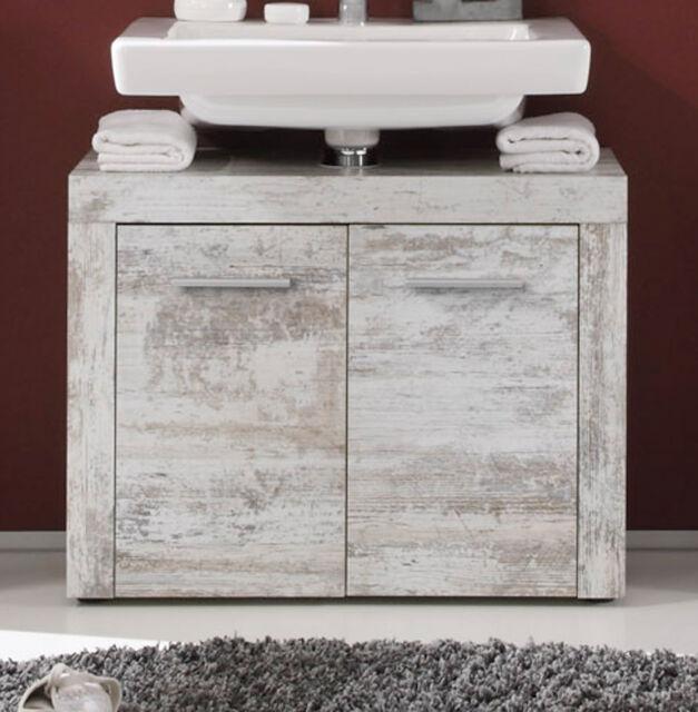Waschbeckenunterschrank weiß Pinie Shabby Vintage Bad Schrank Retro 70 cm Cancun