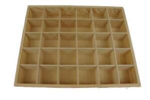 1-x-Plain-Wooden-Display-Unit-Tray-30-Compartments-Shelf-Caddy-Storage-NO-LID