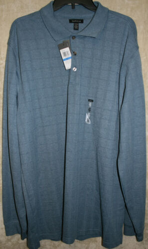 NWT VanHeusen L//S Sleeve 2//3 Button Polo Rugby shirt Colors Plaid soft Cotton