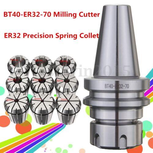 BT40-ER32-70 Milling Cutter CNC Arbor Chuck Holder w// 9pcs ER32 Spring Collet