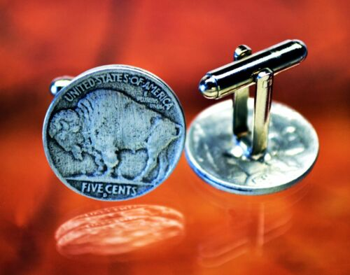 Buffalo Nickel CufflinksBison CufflinkCoin Cuff LinksHandcrafted Pewter