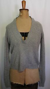 COUNTRY-ROAD-Light-Grey-Wool-Blend-Deep-Rounded-Neckline-Jumper-Sweater-M