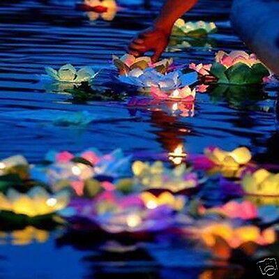 5X Paper Lotus Flower Wishing Lamp Floating Water Light Chinese Lanterns Holiday