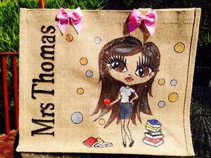 TEACHERs HAND PAINTED   PERSONALISED JUTE BAG UNIQUE Gift Large Size
