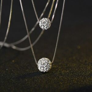 Doppel-Halskette-Shamballa-Kugel-echt-Sterling-Silber-925-Damen-Collier-Kristall