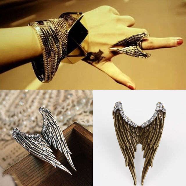 Fashion Punk Rock Exquisite Vintage Alloy Rhinestone Angel Wings Ring Adjustable