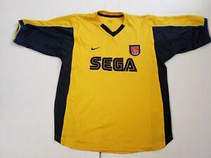 huge discount d8f42 34224 Details about Vintage: 1999-2000 Arsenal Sega Yellow Soccer Jersey Mens  Large NIKE DRI-FIT