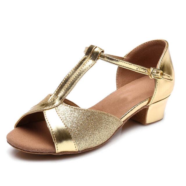 Brand New Women Children Girl/'s Ballroom Latin Tango Dance Shoes heeled Salsa208