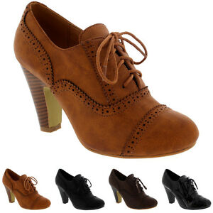 f783c23c603 Womens Mary Jane Brogue Lace Up Ankle Boot Cuban Heels Work Office ...