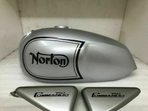New Norton Commando Roadster Silver Paint Stripe Fuel Tank + Side Panel