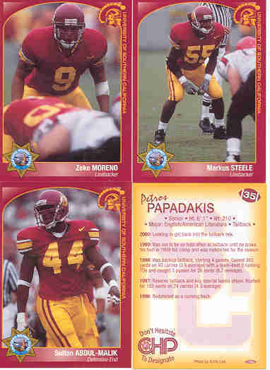 2000 CHP SAFETY USC TROJANS FOOTBALL CARD SET OF 21 PETROS PAPADAKIS MORENO SGA