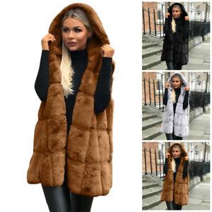 Women Winter Hoodie Fluffy Coat Warm Coat Jacket Outwear Waistcoat SleevelessTER
