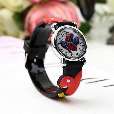 Spider Cartoon Watch Kids Analog Quartz Wrist Watch Rubber Band Wristwatch GD