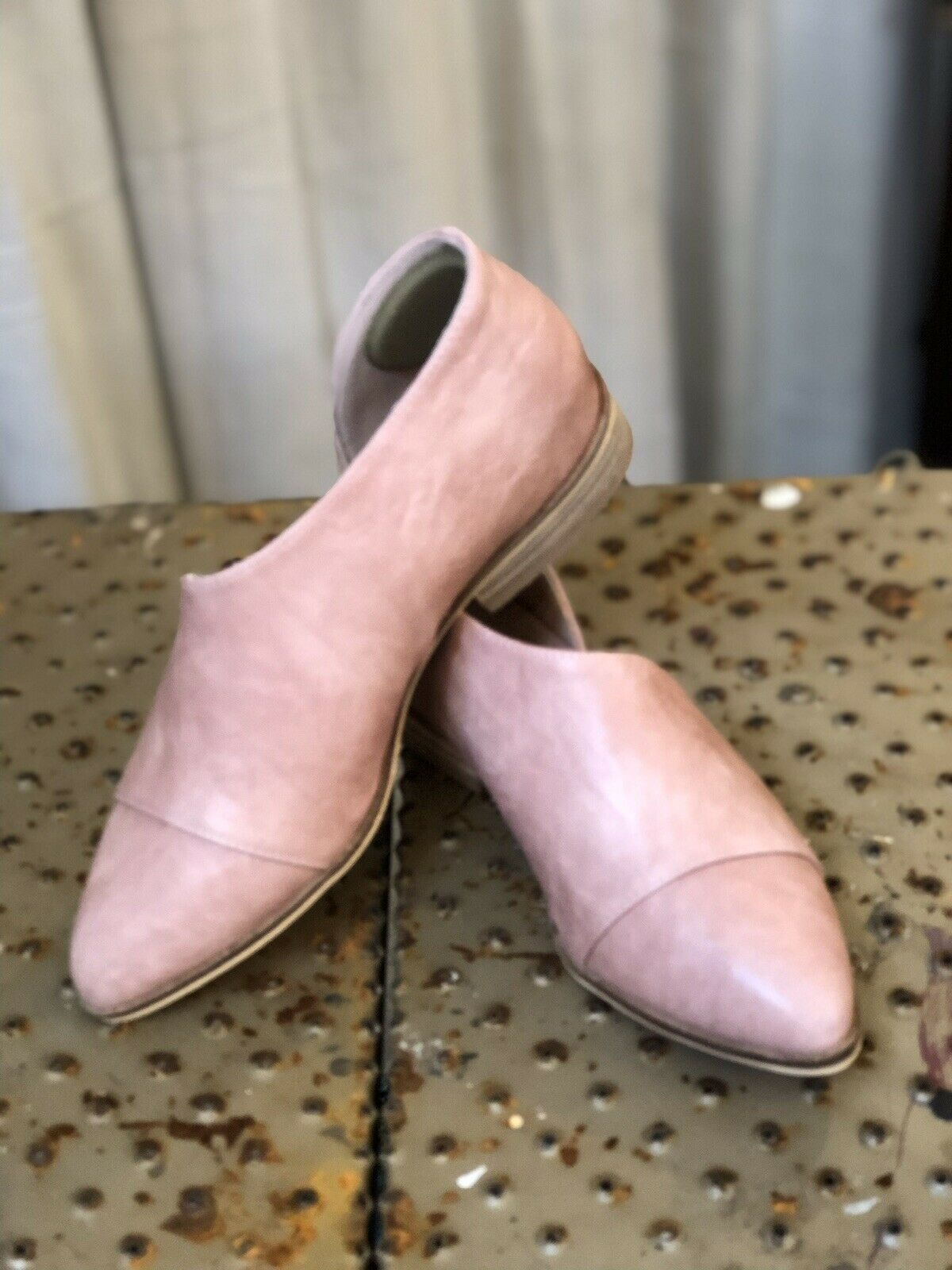 Women's Blush Pink Flats With Side Cut Out - Size 8-1/2