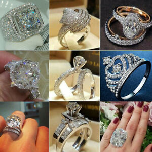 925-Silver-Rings-Sapphire-White-Topaz-Women-Wedding-Engagement-Size-6-10-Jewelry
