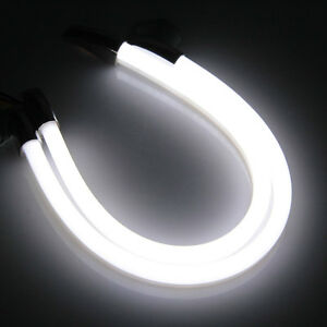 2pcs 30cm drl 5w 3014smd led bande feu de jour clignotant blanc ambre voiture ebay. Black Bedroom Furniture Sets. Home Design Ideas