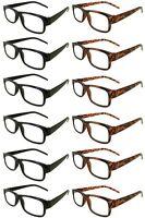 Reading Glasses [+2.25] 6 Black 6 Tortoise Plastic Frame Wholesale Reader 2.25