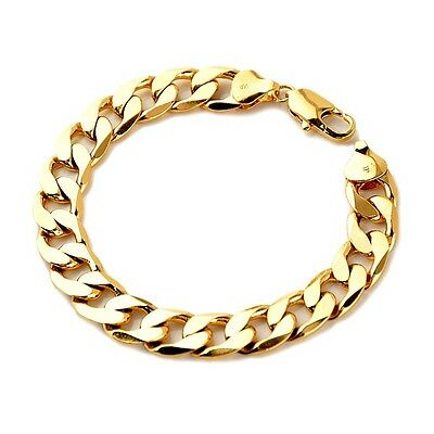"""18K Yellow Gold Filled Charms Bracelet 12mm Curb Link 9"""" Mens Chain HOT Jewelry"""