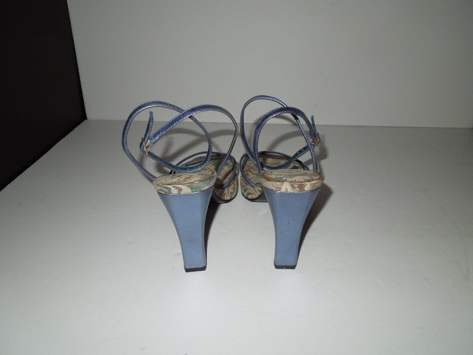 NWOT Nine West Leather R-Soulmate Metallic Blau Leather West Platform Ankle Strap Sandals 7M 34ff6c