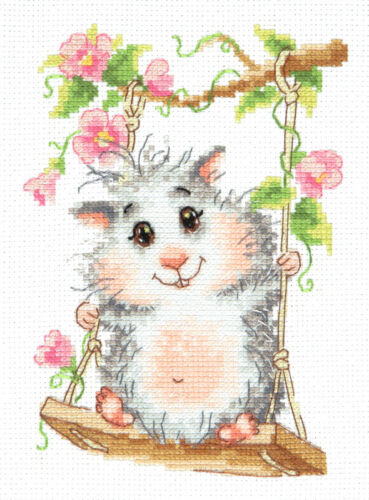 art Cross Stitch Kit On the swing 19-13 hamster