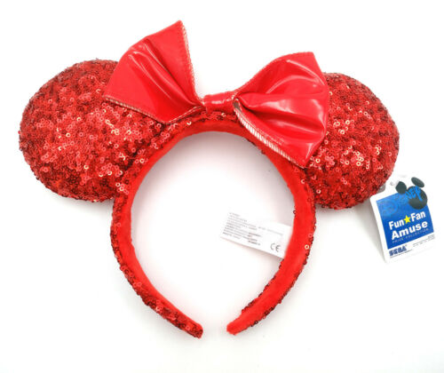 Disney Park Minnie Mouse Ears Mickey Party Red Bow Sequins Festival Cos Headband