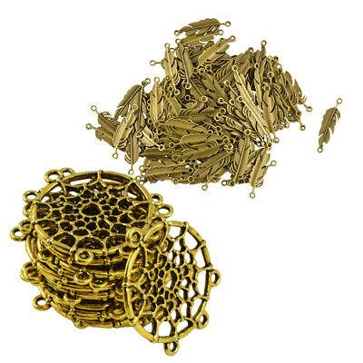 100pcs Vintage Metal Charms Pendant Feather Design for Necklace Bracelet