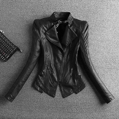 Women's Black Spring Motor Jacket Long Sleeve PU Leather Coat Large Size R036