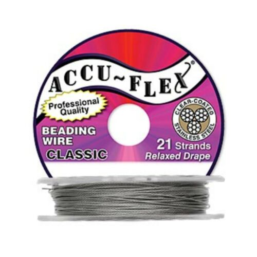 "0.024/"" WR122 AccuFlex Beading Wire Clear over Stainless 21 Strand 100 ft."