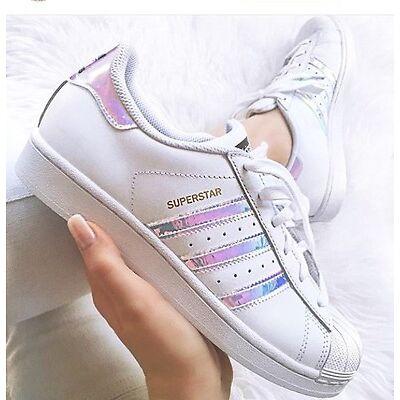 Adidas Superstar J White Hologram Iridescent GS & PS AQ6278 Girls Youth Women