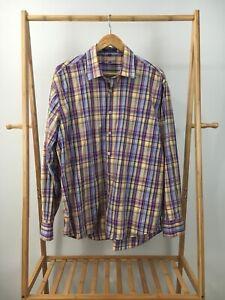 Alan-Flusser-Men-039-s-Plaid-Multi-Colored-Button-Front-Long-Sleeve-Shirt-Size-XL