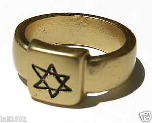 24K Gold Plated Women Men Ring Etched Star of David Charm Jewish Israel Sz 6.5