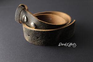 Agrietado Marrón y Negro Cinturón De Cuero Hebilla de reemplazo 38 mm Snap en sin cinturón