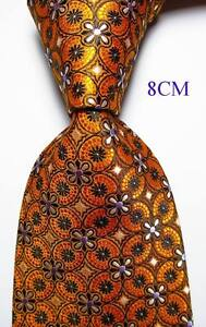 New-Classic-Floral-Gold-Black-White-JACQUARD-WOVEN-100-Silk-Men-039-s-Tie-Necktie