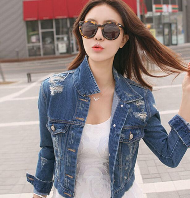 New Vintage Long Sleeve Jean Coat Womens Slim Denim Short Casual Jacket