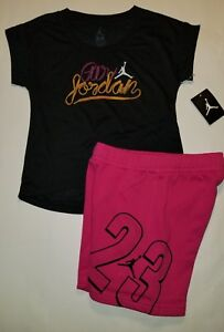 e7b78163134e Nike Air Jordan Girls 2 PC Set Shirt Tee   Shorts Outfit Size Small ...