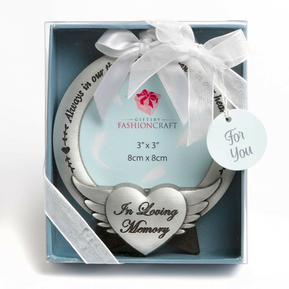 96 In Loving Memory Angel Wing Memorial Photo Ornament Boxed Keepsake Favors